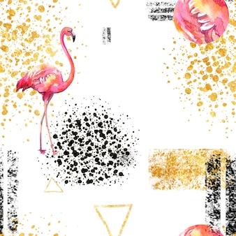 Bezszwowy deseniowy abstrakcjonistyczny geometryczny wzór na bielu w scandinavian stylu z flamingiem.