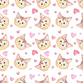Bezszwowy dziecięcy wzór akwareli z głową kota i różowymi sercami dla miłośników, walentynek i dziewczyn