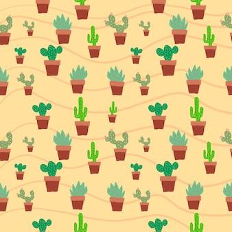 Bezszwowy kaktus w doniczce plat brązowy kolor wzór tła ilustracja graficzny kaktus zielonego drzewa