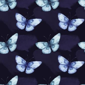 Bezszwowy wzór akwarela z niebieskimi abstrakcyjnymi dużymi motylami na niebieskim tle