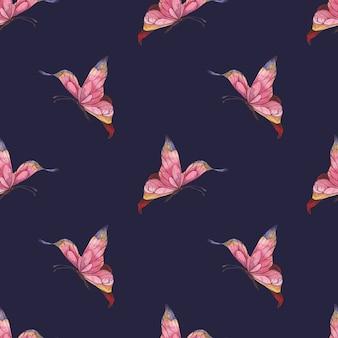 Bezszwowy wzór akwarela z różowymi abstrakcyjnymi motylami fruwającymi na niebieskim tle