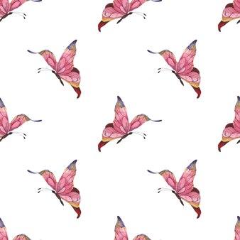 Bezszwowy wzór akwarela z różowymi abstrakcyjnymi motylami trzepoczącymi na białym tle