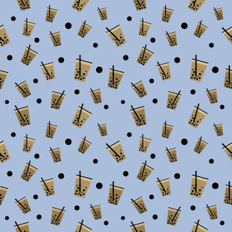 Bezszwowy wzór ilustracja bańka z mrożoną herbatą mleczną i boba w filiżance, tapecie i tle