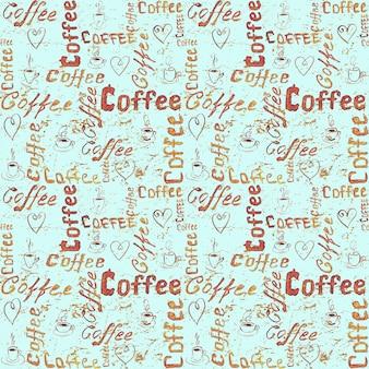 Bezszwowy wzór kawy z napisem, sercami i filiżankami kawy na turkusowej powierzchni papieru vintage