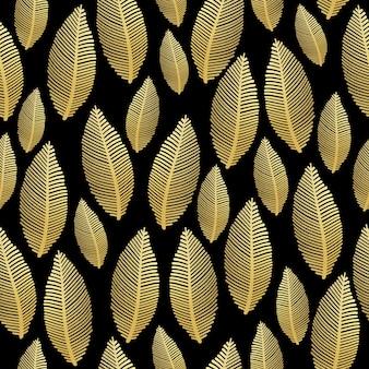 Bezszwowy wzór liścia z teksturą złotej folii na czarno