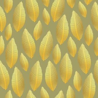 Bezszwowy wzór liścia z teksturą złotej folii