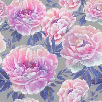 Bezszwowy wzór piękny błękitny okwitnięcie kwitnie z liśćmi i pączkami