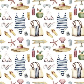 Bezszwowy wzór - plażowa urlopowa odzież na bielu