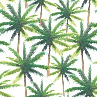 Bezszwowy wzór ręki farby kokosowy drzewo akwarela