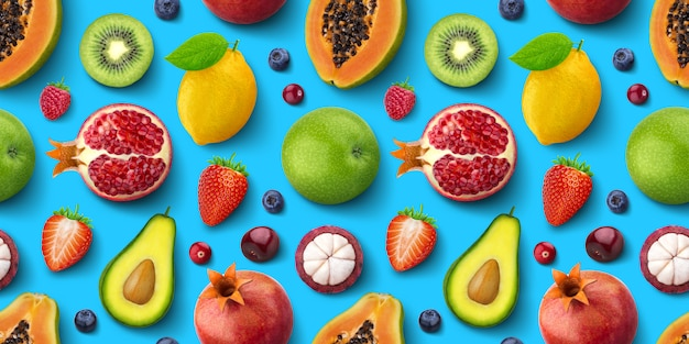 Bezszwowy wzór różne owoc i jagody, mieszkanie nieatutowy, widok z góry, tekstura tropikalna i egzotyczna
