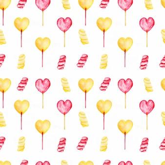 Bezszwowy wzór z akwareli cukierkami