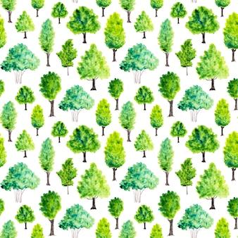 Bezszwowy wzór z akwareli zielonymi drzewami. tło natura
