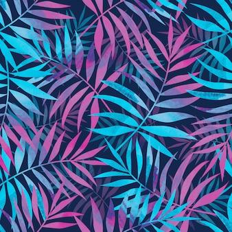Bezszwowy wzór z jaskrawą tropikalną palmą opuszcza na zmroku - błękitny tło.