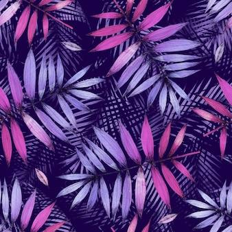 Bezszwowy wzór z tropikalnym palmowym urlopem na purpurowym tle