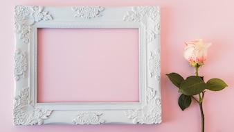 Biała ramka na zdjęcia archiwalne i świeży kwiat