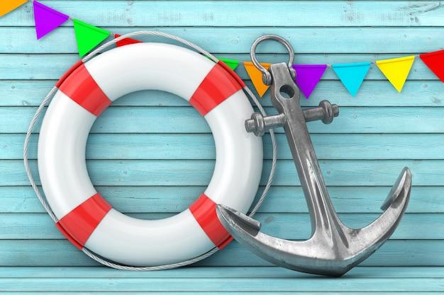Biała boja ratunkowa i srebrna kotwica morska na ekstremalne zbliżenie ściany niebieskie drewniane deski. renderowanie 3d