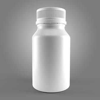 Biała butelka na lekarstwo na białym tle 3d