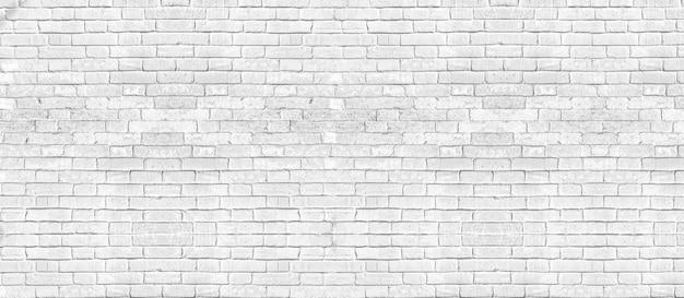 Biała cegła ściana tekstur na tle. baner panoramiczny