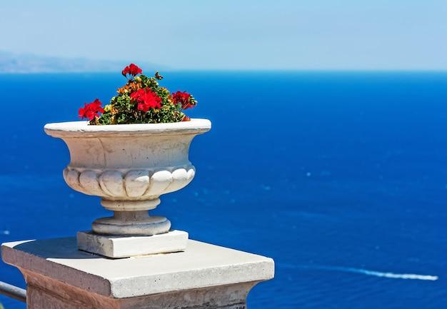Biała ceramiczna doniczka z czerwonymi pelargoniami na tle błękitnego morza w słoneczny letni dzień.