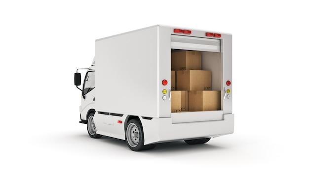 Biała ciężarówka dostawcza z kartonami renderowania 3d