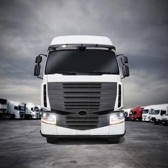 Biała ciężarówka przegubowa zaparkowana na jezdni. renderowanie 3d