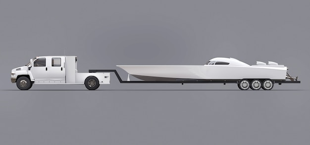 Biała ciężarówka z przyczepą do transportu łodzi wyścigowej