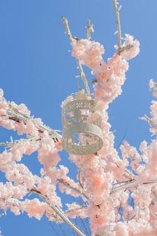 Biała dekoracyjna klatka dla ptaków wisząca na gałęzi kwitnącej jabłoni