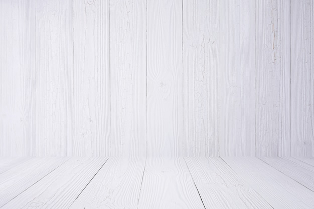 Biała drewniana tło ściana, podłoga i.