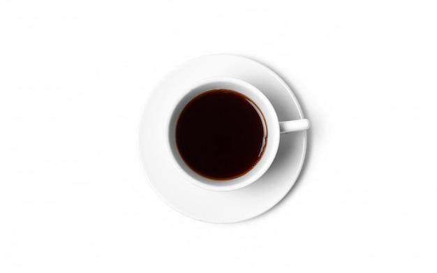 Biała filiżanka kawy na białym odgórnym widoku