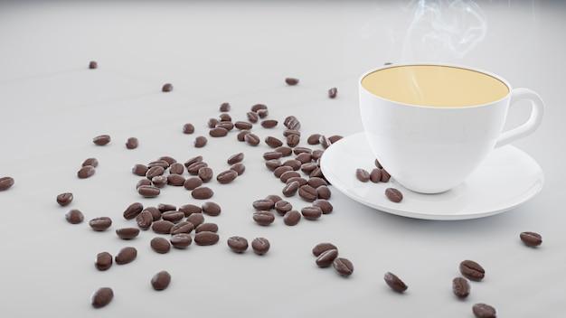 Biała filiżanka kawy na białym tle