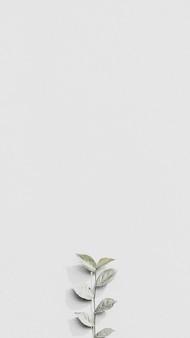 Biała gałąź rośliny na szarej ceglanej ścianie w tle tapety mobilnej w naturalnym świetle