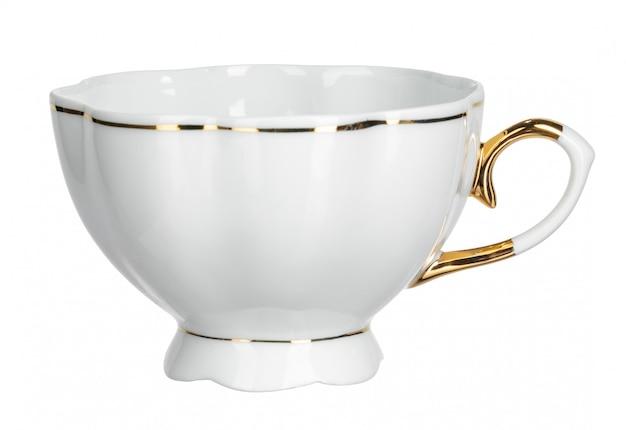 Biała herbaciana filiżanka isoolated na białym tle