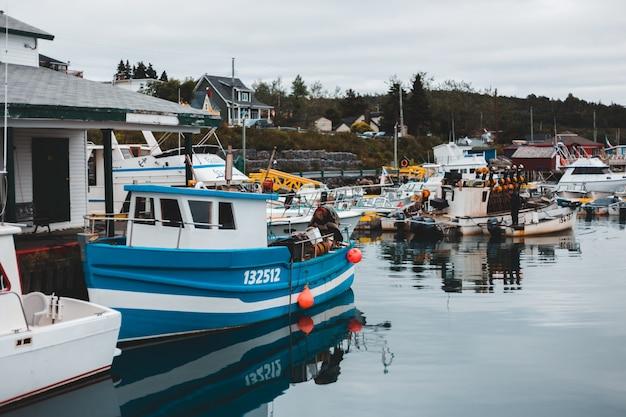 Biała i niebieska łódź na zbiorniku wodnym