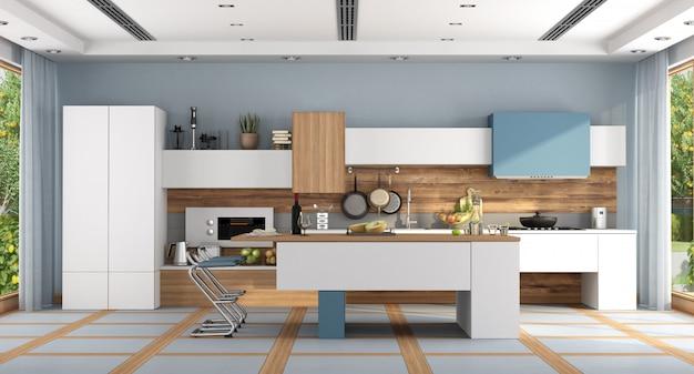 Biała i niebieska nowoczesna kuchnia