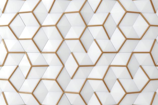 Biała i złota 3d ściana dla tła