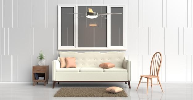 Biała kanapa w pokoju kąpielowym, pomarańczowe poduszki, stolik nocny z drewna, wentylator sufitowy, krzesło drewniane.