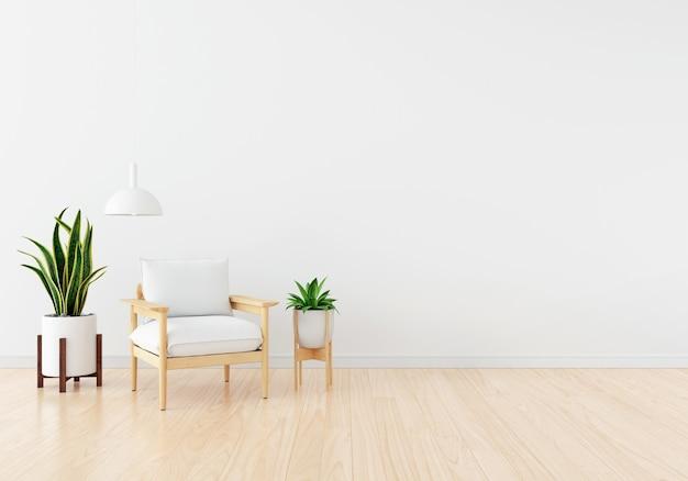 Biała kanapa z zieloną rośliną w salonie