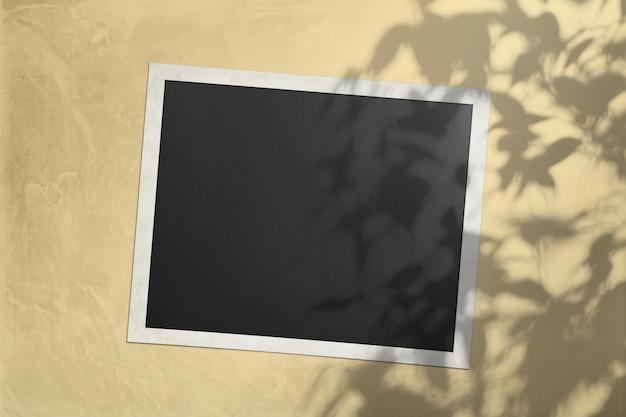 Biała kartka na ścianie w kolorze słońca z cieniem z drzewa