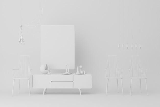 Biała konsola z krzesło dekoracjami 3d renderingiem