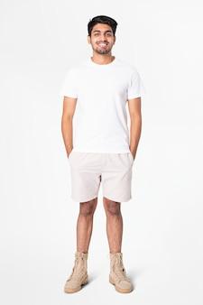 Biała koszulka i spodenki męskie basic nosić całe ciało