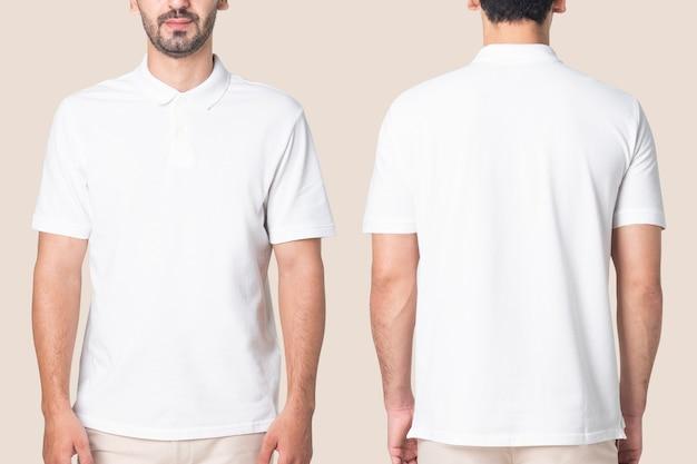 Biała koszulka polo męska casualowa odzież biznesowa widok z tyłu