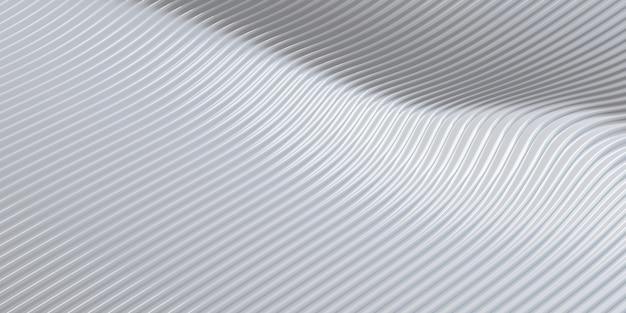 Biała krzywa zniekształcony kształt równoległe linie biała plastikowa rurka tekstura nowoczesna abstrakcyjna ilustracja 3d