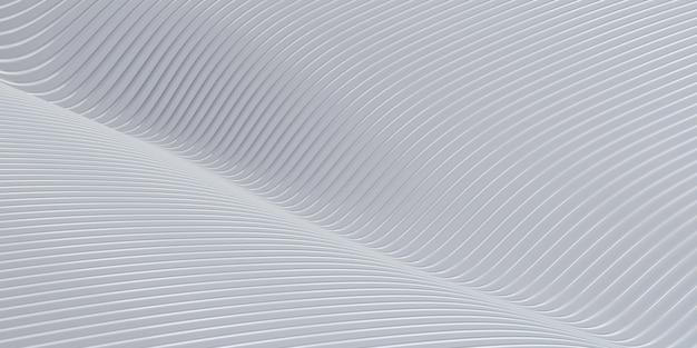 Biała krzywa zniekształcony kształt równoległe linie biała plastikowa rurka tekstury nowoczesna abstrakcyjna ilustracja 3d