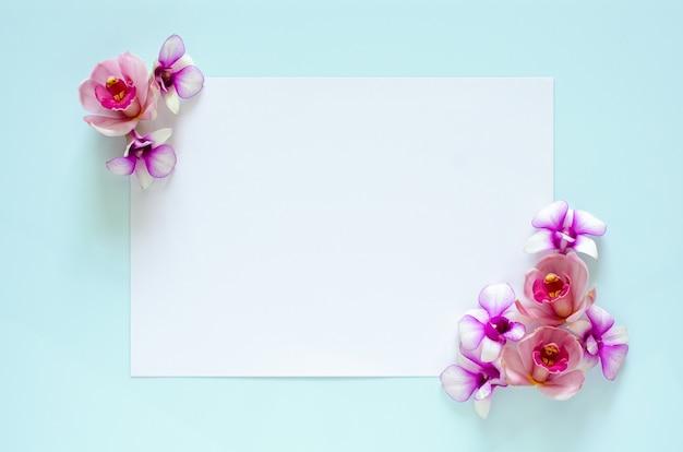 Biała księga z kwiatem orchidei na pastelowym niebieskim dla koncepcji matki i walentynek.