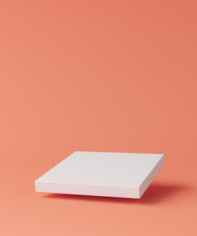 Biała kwadratowa podstawa unosiła się w jasnoczerwonej scenie. minimalistyczne tło dla brandingu i prezentacji. renderowanie 3d