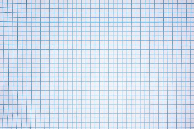 Biała kwadratowa tekstura papieru, niebieskie linie, zeszyt szkolny