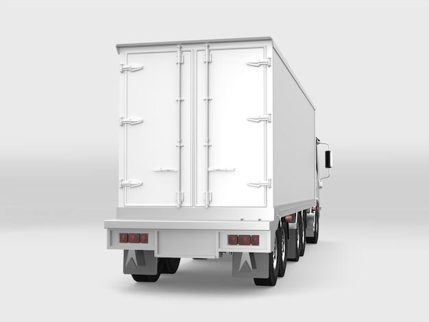 Biała ładunek ciężarówka na białym tle