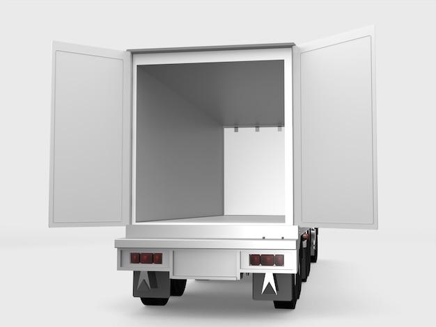 Biała ładunek ciężarówka otwiera drzwi na białym tle