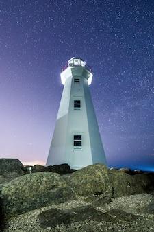Biała latarnia morska z niebem pełnym gwiazd