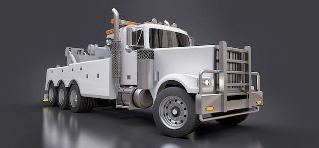 Biała laweta do transportu innych dużych ciężarówek lub różnych ciężkich maszyn